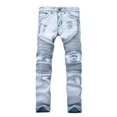 628543a5 Men's Stretchy Ripped Skinny Biker Jeans Destroyed Taped Slim Fit Denim  Pants #MensJeans Men's Fashion