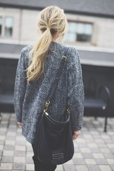 Casual Outfits | layers | messy pony tail | winter outfits | jeans | denim | fall outfits | style | fashion | sweater | purse | boots | street style