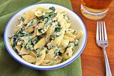 The Kitchen Life of a Navy Wife: Spinach Artichoke Pasta - cream cheese, sour cream, parmesan cheese, chicken, spinach, artichoke hearts ... Yummmm! :D
