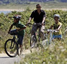 Barrack Obama enjoying a family bike ride. If the President has time to bike ride so do you!