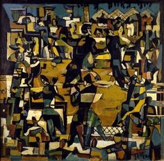 Ball in Zurich, 1917 Janco succeeded in rendering the dynamism of dance by breaking the surface of the painting in multiple surfaces that at times even overlap.