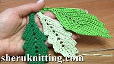 How To Crochet Two-Side Leaf With Chain Spaces In The Middle Tutorial Get the more patterns at . In this tutorial you will learn how to crochet a classic leaf with little chain spaces inside. This crochet leaf looks good by itself and can be a Crochet Leaf Patterns, Crochet Leaves, Crochet Motifs, Freeform Crochet, Thread Crochet, Irish Crochet, Crochet Designs, Crochet Crafts, Crochet Projects