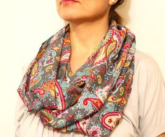 Printed Scarf Paisley Infinity Scarf Spring Fashion by warmandsoft