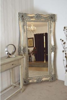 Extra Large Very Ornate Full Length Antique Silver Big Wall Mirror 6ft5 x 3ft5