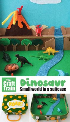 Make a dinosaur small world in a suitcase to inspire imaginary play. This is a fun handmade gift idea for kids, and is perfect for preschoolers and all kids who love dinosaurs. Great for travel and play on the go! Dinosaur Crafts Kids, Make A Dinosaur, Dinosaur Gifts, Dinosaur Toys, Preschool Crafts, Craft Kits For Kids, Fun Activities For Kids, Easy Crafts For Kids, Gifts For Kids