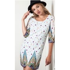 """HPAbstract dress (S M L) Abstract dress  S: L34"""" B34""""• M: L35"""" B36""""• L: L35"""" B38"""" Materials: 65% cotton/ 35% polyester.  NWOT. Brand new without tags. This is a stunning dress! It is lightweight, but fully lined so it is not sheer. The back has a zipper closure and there is no stretch to this dress.     Availability- S•M•L • 2•2•2PLEASE do not purchase this listing. Price is firm unless bundled. No tradesHP BY @bschuler3L8 Boutique Dresses Long Sleeve"""