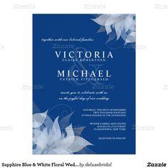 "Sapphire Blue & White Floral Wedding Invitations 5.5"" X 7.5"" Invitation Card"