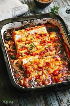 Baked Tofu with Mushrooms - Sandra's Easy Cooking - Vegan version: substitute cheese. Baked Tofu with Mushrooms slow cooked in Roasted Pepper Sauce La m - Vegetarian Cooking, Easy Cooking, Vegetarian Recipes, Cooking Recipes, Cooking Games, Cooking Oil, Seitan, Tempeh, Tofu Dishes