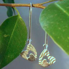 Double the Love Silver Heart Earrings