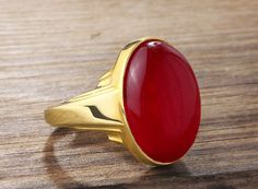 Antique Art Deco Style Natural Red Agate 10k Solid Gold Men Ring #stanbul_jewelry #Statement
