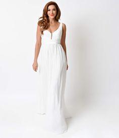 White Pleated Chiffon Illusion Deep V-Neck Dress - Dresses - Clothing   Unique Vintage