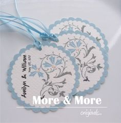 Personalized 2.5inch Circle Tags with Scalloped edges - Set of 60 - Weddings - Bridal Shower - Thank You - Favor Tag
