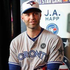 Hey now youre an All-Star! Happ has arrived at the All-Star festivities in Washington! Young Old, Toronto Blue Jays, Go Blue, All Star, Mlb, Washington, Baseball Cards, Boys, Sports