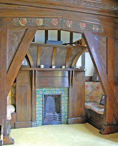 Great Inglenook fireplace -- William De Morgan tiles at Pownall Hall 'Rose Trellis' tiles in thier natural habitat, a fireplace in an Arts and Crafts house - Pownall Hall, near Manchester. Home the the chaps who ran Boddingtons brewery. Arts And Crafts Interiors, Arts And Crafts Furniture, Arts And Crafts House, Easy Arts And Crafts, Home Crafts, William Morris, Craftsman Interior, Craftsman Style, Craftsman Homes