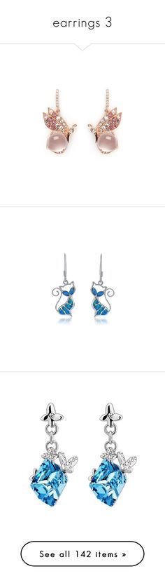 """""""earrings 3"""" by thesassystewart on Polyvore featuring jewelry, earrings, pink, pave jewelry, pave earrings, pink earrings, monarch butterfly earrings, butterfly earrings, pendants and aquamarine earrings"""