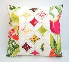 Quilted Modern Decorative Pillow Cover Throw Pillow Cathedral Window 16 Inch - Home & DIY Cathedral Window Patchwork, Cathedral Windows, Modern Decorative Pillows, Decorative Pillow Covers, Patchwork Cushion, Quilted Pillow, Quilting Projects, Quilting Designs, Pillow Inspiration