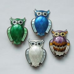 David Andersen Sterling Silver and Green Guilloche Enamel Owl Pin - from the-big-o on Ruby Lane