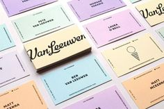 "Brand Identity & Packaging for Van Leeuwen by Pentagram ""Pentagram's Natasha Jen and team have created a new brand identity system for Van Leeuwen that position it as the ice cream of choice. Stripping off all the visual noise typically seen in ice. Blog Design Inspiration, Design Blog, Packaging Design Inspiration, Typography Inspiration, Ice Cream Companies, Ice Cream Brands, Material Design, Gelato, Stationery Design"