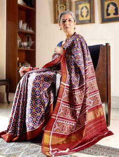 Buy Blue Red White Yellow Double Ikat Patan Patola Silk Saree with Zari Border Sarees Woven Online at Jaypore.com