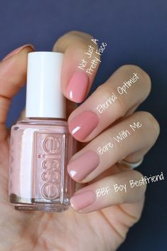 The advantage of the gel is that it allows you to enjoy your French manicure for a long time. There are four different ways to make a French manicure on gel nails. Neutral Nails, Nude Nails, My Nails, Soft Pink Nails, Spring Nail Colors, Spring Nails, Essie Nail Polish Colors, Essie Colors, Color Nails