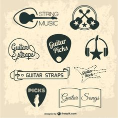 Guitar retro graphic elements - Freepik.com-Elements-pin-23