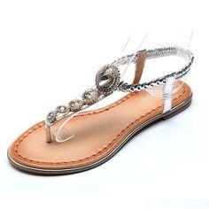 aed026baf0c5fc Big Diamonds Faux Leather BOHO Flats Thong Sandals for Women