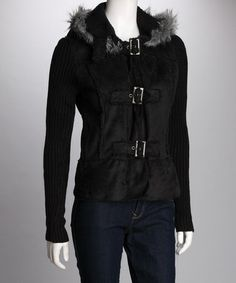 Take a look at this Black Buckle Coat by Yoki on #zulily today!
