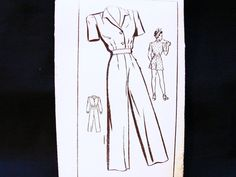 1940s Jumpsuit Pattern Misses size 14 Bust by PatternsFromThePast