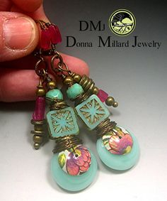 RESERVED Handmade LAMPWORK EARRINGS glass beads by DonnaMillard, $45.00