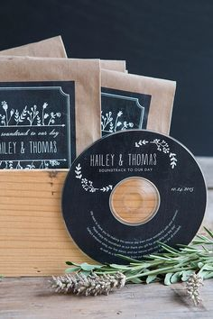 CD Wedding Favors | Evermine Weddings | evermine.com - these will fly and be perfect for the table, also we're picking the playlist so it's a sweet favour