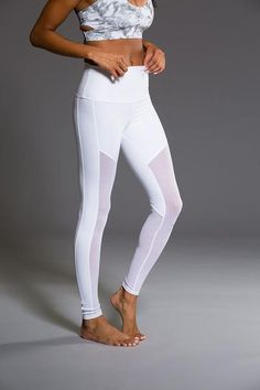 131a95e492c1a Onzie Fierce Legging - White Combo Mesh Workout Leggings