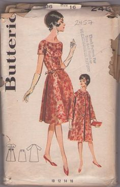 Butterick 2457 Vintage 60's Sewing Pattern GORGEOUS Mad Men Cocktail Party Dress, Cone Shaped Skirt, Raglan Sleeve Evening Coat 3 Piece Ensemble
