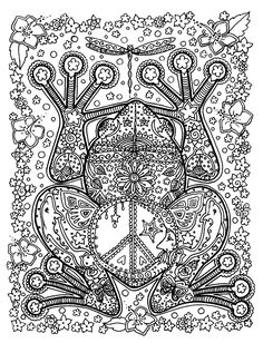 Free coloring page coloring-adult-animals-big-frog. A big Frog with patterns full of details, inside and outside