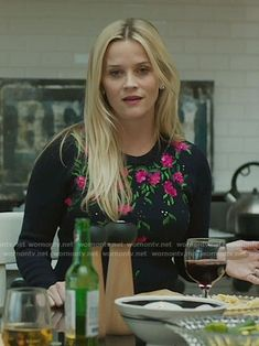 Madeline's floral embroidered sweater on Big Little Lies.  Outfit Details: https://wornontv.net/66781/ #BigLittleLies