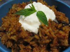 Turkish Eggplant (Aubergine) Pilaf (Patlicanli Pilav) from Food.com:   								Really good. From The Complete Middle East Cookbook By Tess Mallos. This is really nice served with Cucumber Salad With Yogurt (Middle East, Palestine).