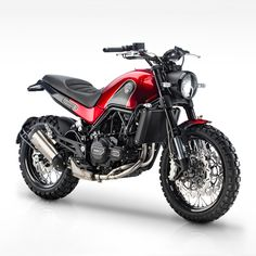 """One of the stars of EICMA 2015: the Benelli Leoncino. The original 'lion cub' was a post-WWII, 125cc bike. Now it's a 500cc, twin-cylinder scrambler. And the ergonomics and spoked wheels (19"""" front and 17"""" rear) suggest that it'll be perfect for mild off-road use. We reckon it looks better than the Ducati Scrambler too. What about you?"""