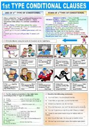 English worksheet: FIRST TYPE CONDITIONAL CLAUSES