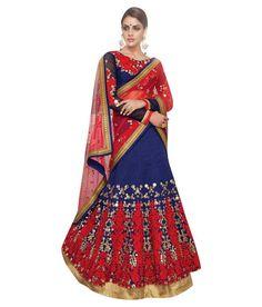 Naksh - EXCLUSIVE DESIGNER WOMENS INDIAN STUNNING TRADITIONAL ETHNIC WEDDING BLUE AND RED LEHENGA CHOLIÂ