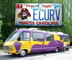 ECU - East Carolina University Pirates - RV with specialty state licence plate - used for tailgating at football games