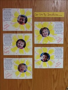 You are my sunshine footprint/picture craft! Infant/toddler room!