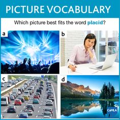 The answer to yesterday's vocabulary question is D. If something is placid, it means that it is calm and peaceful. Places in nature, like the one shown in the photo, are often considered placid. The scene in photo A is too lively, the traffic in photo C would be stressful, and the woman in photo B looks bored, not peaceful. #EFL #ESL #English