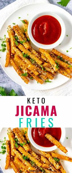 Craving fries but trying to stick to a low carb diet? It doesn't get any better than these Keto Jicama Fries! They are a welcome treat that is sure to curb your cravings. When you start with crisp-tender jicama and then add a garlic parmesan sauce, you have got a combination that can't be beaten. Try them once and, like me, you will fall in love. Sugar Free Recipes, Low Carb Recipes, Healthy Recipes, Low Carb Side Dishes, Side Dish Recipes, Slow Cooker Recipes, Beef Recipes, Jicama Fries, Low Carb Vegetables