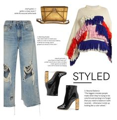 """How to Style Distressed Denim Jeans with a Cozy Sweater"" by outfitsfortravel ❤ liked on Polyvore featuring Delpozo, R13 and Dolce&Gabbana"