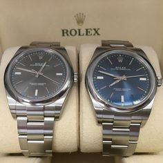 The ever popular Rhodium or Blue dial Rolex Oyster Perpetual 39 #DailyDuo