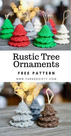 These crochet Christmas ornaments are a fun and easy way to add farmhouse style . These crochet Christmas ornaments are a fun and easy way to add farmhouse style to your Holiday decor. This simple proje. Crochet Christmas Decorations, Christmas Crochet Patterns, Crochet Christmas Ornaments, Crochet Ornament Patterns, Holiday Ornaments, Simple Christmas, Handmade Christmas, Christmas 2019, Christmas Swags