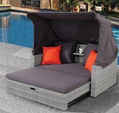 Daybed 220 καναπές κρεβάτι από αλουμίνιο-wicker με τέντα και μαξιλάρια. Εύκολα και γρήγορα ο διθέσιος καναπές με το ευρηματικό τραπεζάκι και την τέντα να μετατρέπεται σε διπλή ξαπλώστρα σε ύπτια θέση ή με ανασηκωμένη πλάτη. Σκελετός αλουμινίου, πυκνοπλεγμένο wicker σε ανοιχτόχρωμες γκρι αποχρώσεις, μαξιλάρια και τέντα σε πιο σκούρο γκρι.   Διαστάσεις: 148x88x71cm