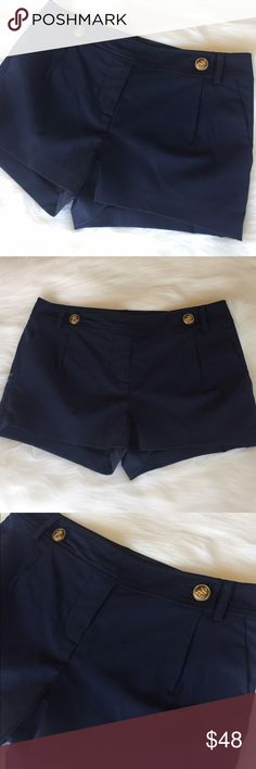 """Elizabeth & James Sailor Shorts with Pockets Super cute Elizabeth & James Navy Blue Sailor Shorts with 2 gold buttons & pockets! Love the double xx on back pocket! Perfect dresses up with heels or dresses down with sandals! Size 4. Approximately 2"""" inseam. Previously loved, gently! L25T003041117 Elizabeth and James Shorts"""