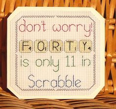 40th Scrabble Birthday Card, Cross Stitch Kit 14 Count  No. 080