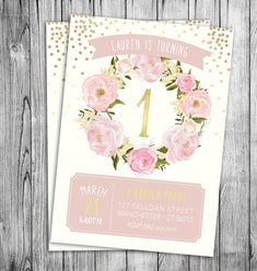 Garden Birthday Invitation First Birthday Girls Party Floral Pink Pastel Beige Off White Gold Polka Dots Girl Kids Invite (Printable File) by NicoleBCDesign on Etsy https://www.etsy.com/au/listing/289611911/garden-birthday-invitation-first