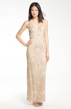1930s Sue Wong V-Neck Embroidery & Bead Overlay Gown